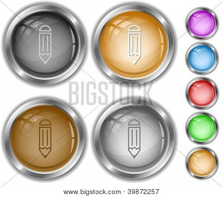 Pencil. Raster internet buttons. Vector version is in portfolio.