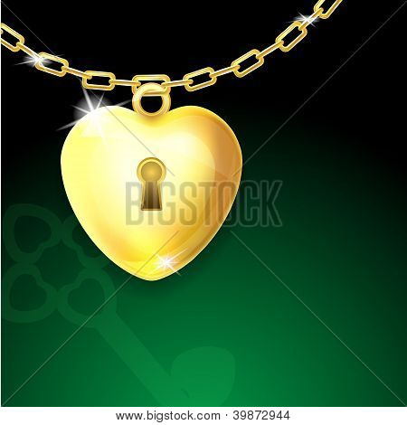 Gold shiny heart lock on chain with key