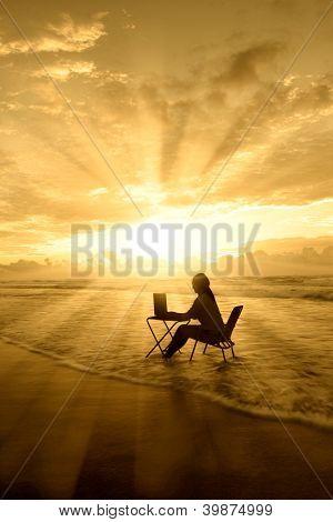 Amazing Rays Of Light Of Woman Study On Beach