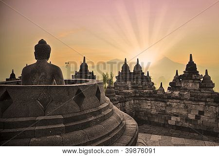 Borobudur Temple And Buddha Statue