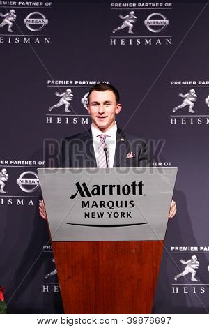NEW YORK-DEC 8: Texas A&M quarterback Johnny Manziel is the winner of the 2012 Heisman trophy at the Marriott Marquis on December 8, 2012 in New York City.