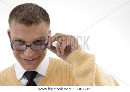 Young Student Adjusting His Spectacles