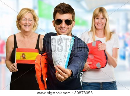 Portrait Of Happy Tourist Family, Indoor