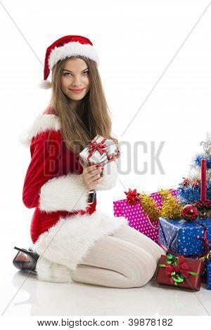 Christmas Girl And Presents