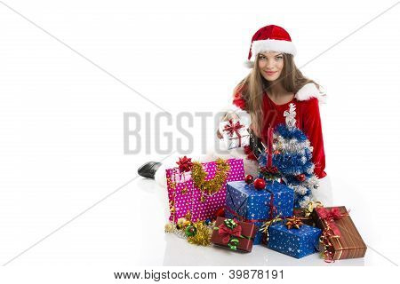 Christmas Girl And Presents