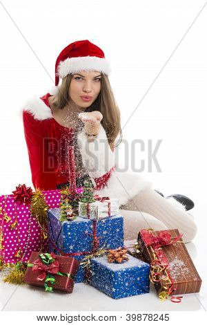 Christmas Girl With Presents And Snow