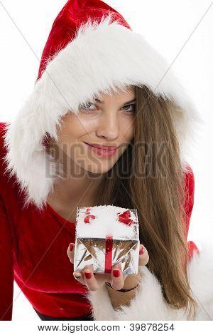 Santa Girl And Gift Box