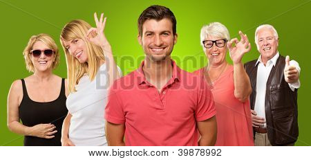 Group Of People Showing Hand Sign On Green Background