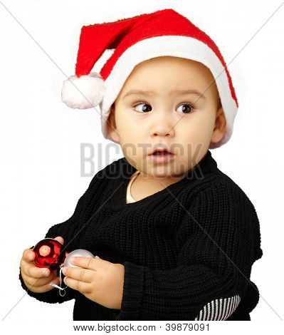 Baby Boy Wearing Santa Hat Holding Christmas Ornaments  Isolated On White Background