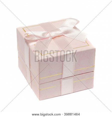 Pink Jewelry Box With Bow Isolated On White Background