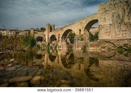 Romanesque bridge over river, Besalu