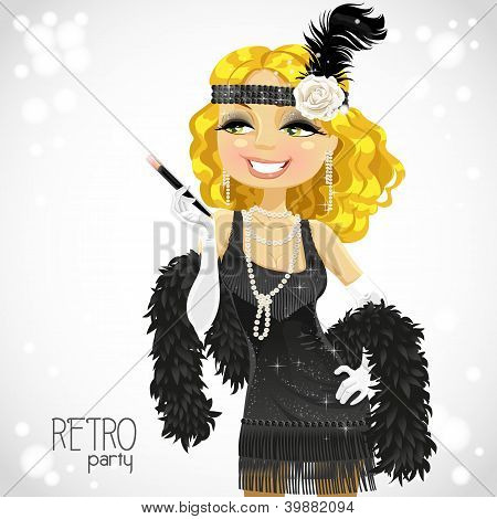 Blond woman with mouthpiece on white Retro party card