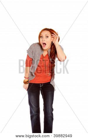 Woman Listening With Shock And Disbelief