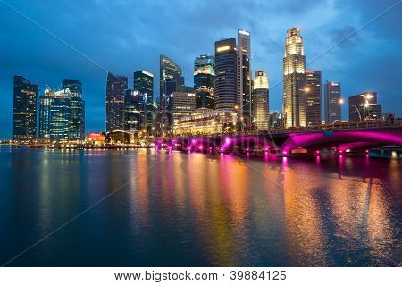 Singapore - April 23:�the Singapore Skyline Shines At Night. Singapore Has A Highly Developed Mark