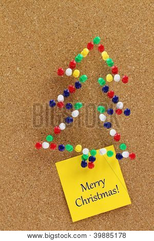 Christmas tree made of colorful pushpins