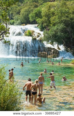 KRKA, CROATIA - JULY 28, 2012: People on the lake on July 28, 2012 in Krka, Croatia.The Krka National Park is one of eight national parks in Croatia.