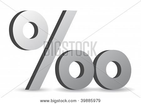 Silver Character Collection. Percentage Symbol