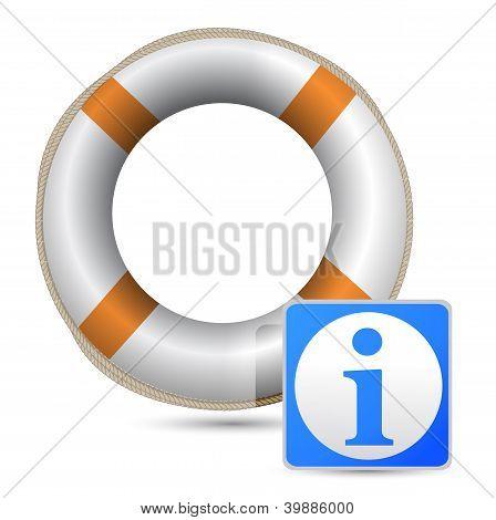 Blue Word Info With An Orange/white Lifebelt