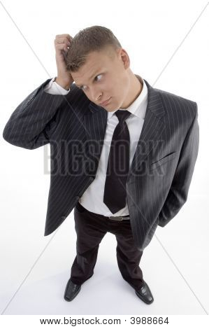Confused Businessman Looking Sideways