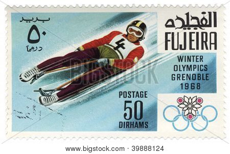 Descent To Sledge At The Winter In Grenoble On Postage Stamp