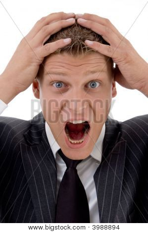 Surprised Businessman Holding His Head