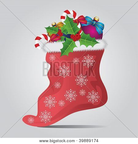 Christmas Sock On Gray Background