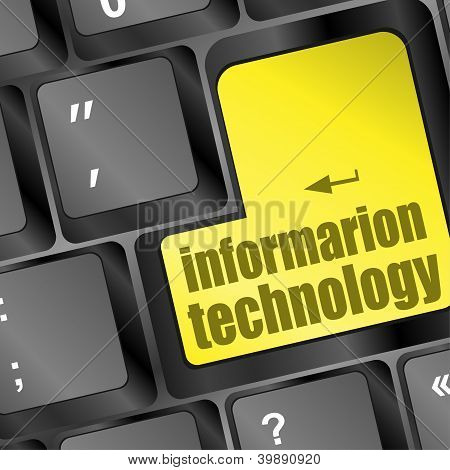 Key With Information Technology Text On Laptop Keyboard