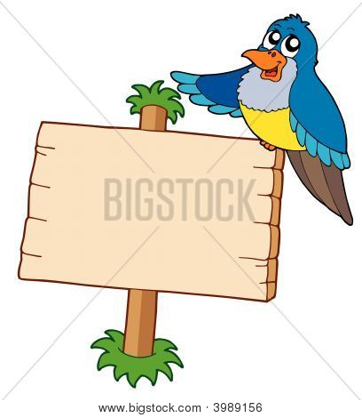 Wooden Sign With Blue Bird