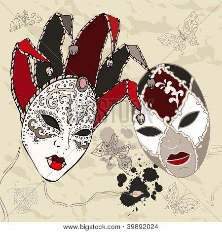 Máscaras de Carnaval veneziano desenhada de mão.