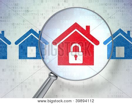 Magnifying optical glass with home icons