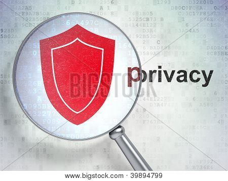 """Magnifying optical glass with shield icon and """"privacy"""" word on"""
