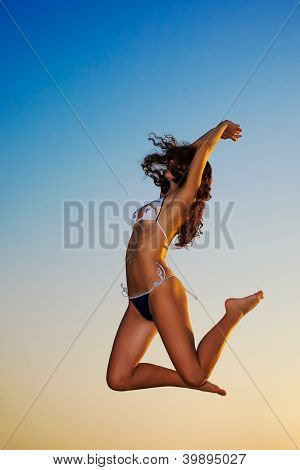 Beautiful Happy Woman Enjoys Freedom