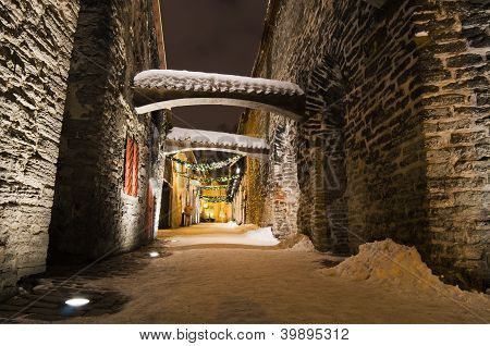 The Streets Of Old Tallinn Decorated To Christmas