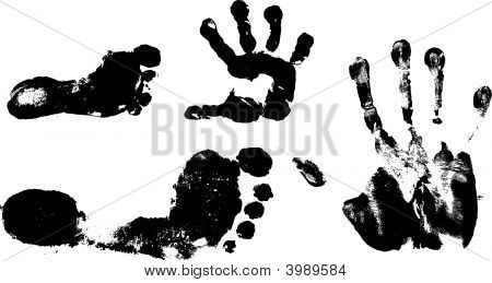 Children'S And Man'S Hand And Foot Prints
