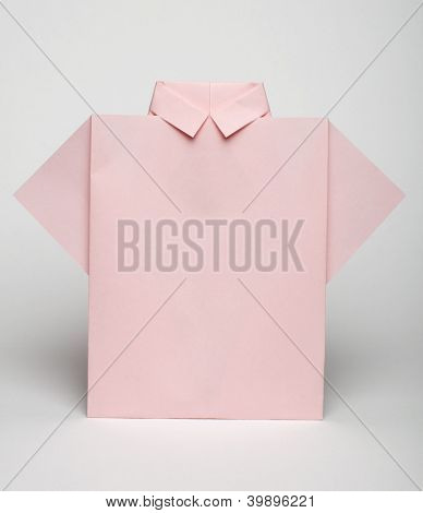 Isolated Paper Made Pink Shirt