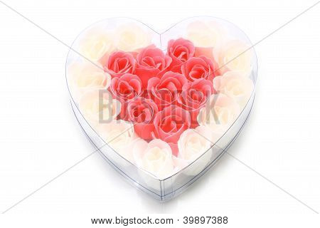Soapy roses arranged in a heart form