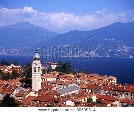 Town rooftops and Lake Como, Menaggio, Italy � Arena Photo UK