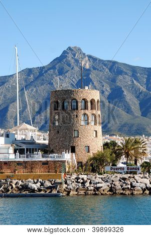 Harbour watchtower, Puerto Banus, Spain � Arena Photo UK