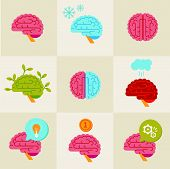 picture of left brain  - Vector set of 9 brain icon designs - JPG