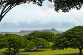 foto of punchbowl  - View of Diamond Head from the National Cemetery of the Pacific  - JPG