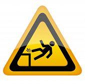 stock photo of slip hazard  - Vector fall danger warning sign isolated on white background - JPG