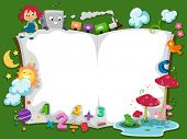 stock photo of storybook  - Background Illustration of a Storybook with Characters - JPG