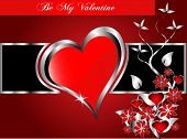 A valentines background  large central hearts on a  red and black background
