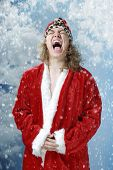Happy Screaming Santa And Snowfall