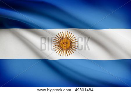 Series Of Ruffled Flags. Argentina.