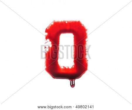 Blood fonts with dripping blood, the letter O