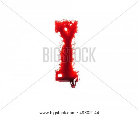 Blood fonts with dripping blood, the letter I