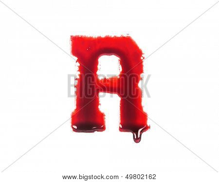 Blood fonts with dripping blood, the letter R