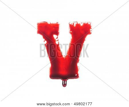 Blood fonts with dripping blood, the letter V