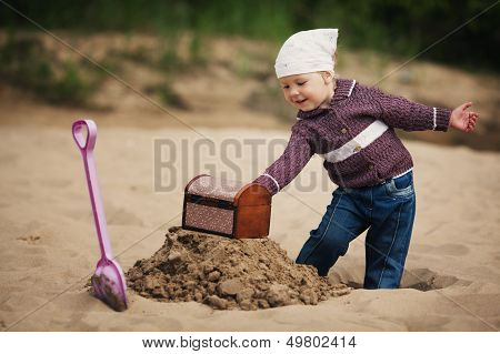 little girl hunting for treasure